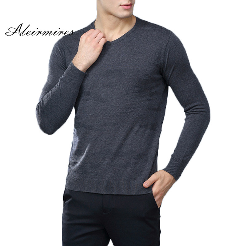 Aleirmires Mens V Neck Basic Cotton Sweaters Pullovers 2018 Autumn Winter Solid Warm Brand Mens Knitted Sweater