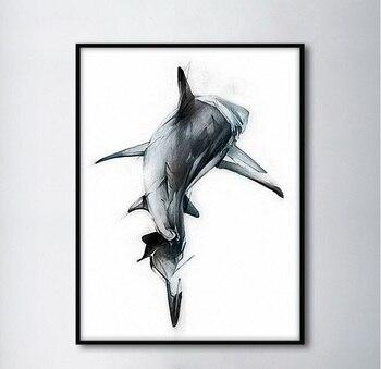 Iskandinav Minimalist Köpekbalığı Arka Dekoratif Resim Sergisi Modüler Resim duvar sanatı tuval yağlıboya Oturma Odası için Hiçbir Çerçeveli