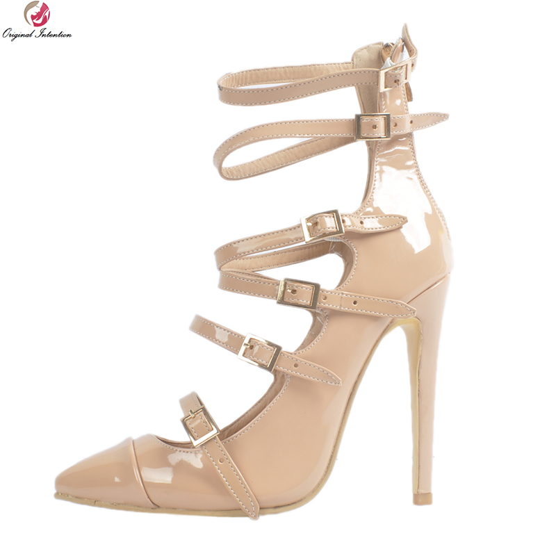 Original Intention New Stylish Women Sandals Nice Pointed Toe Thin High Heels Sandals Elegant Nude Shoes