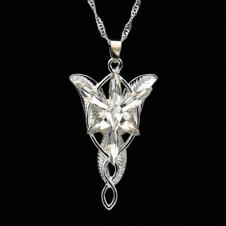 Arwen Evenstar Necklace Elf Princess Fashion Crystal Silver Color Cubic Zirconia Stone Pendant Sparking Jewelry Women Wholesale