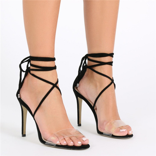 9075f4b8d9d New Summer 2017 Sexy Women Shoes Black Nude Suede Ankle Cross-tied Lace-up  Fine Heel Sandals Strappy Dress Shoes Woman Big size