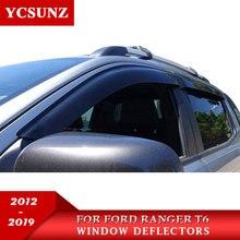 car window deflectors for ford ranger black color car wind deflector guard for ford ranger 2016 wildtrak new vent door visors