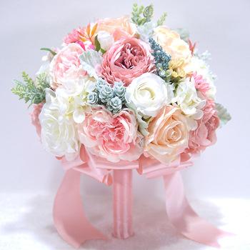 Różowy bukiet ślubny fioletowy kwiaty ślubne bukiety ślubne Ramos De Novia akcesoria ślubne tanie i dobre opinie LBKKC DRESSES 25cm 18cm Poliester
