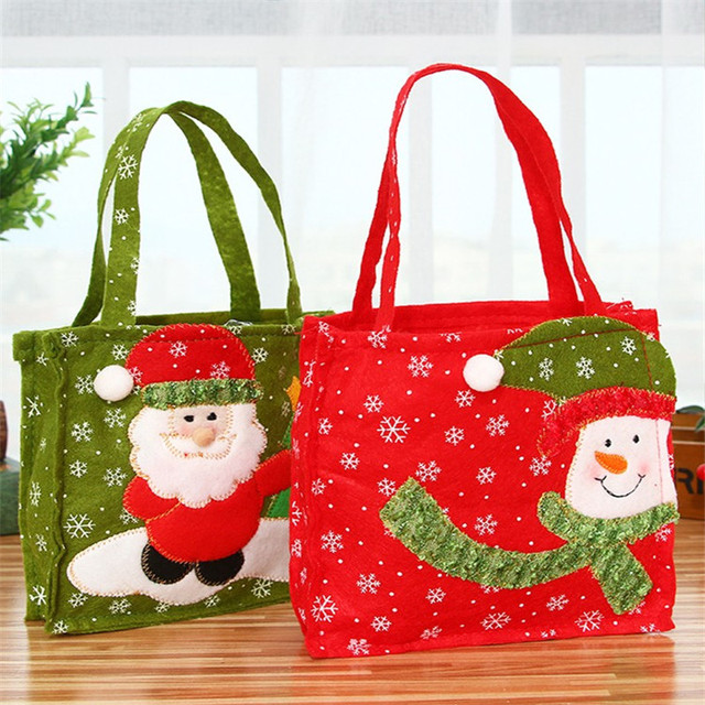 f09d3c933bc7 16   16 cm Creative Christmas Tree Snowman Santa Claus Candy Bag Handbag  Home Party Decoration