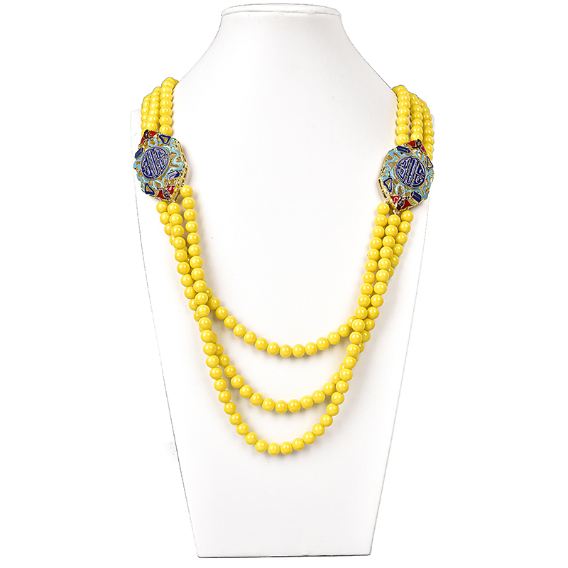 Glittering Yellow Imitation Pearls and Synthetic Glass Crystal Beads 8mm Making DIY jewel Necklace 28 32inch Gem Wholesale H146