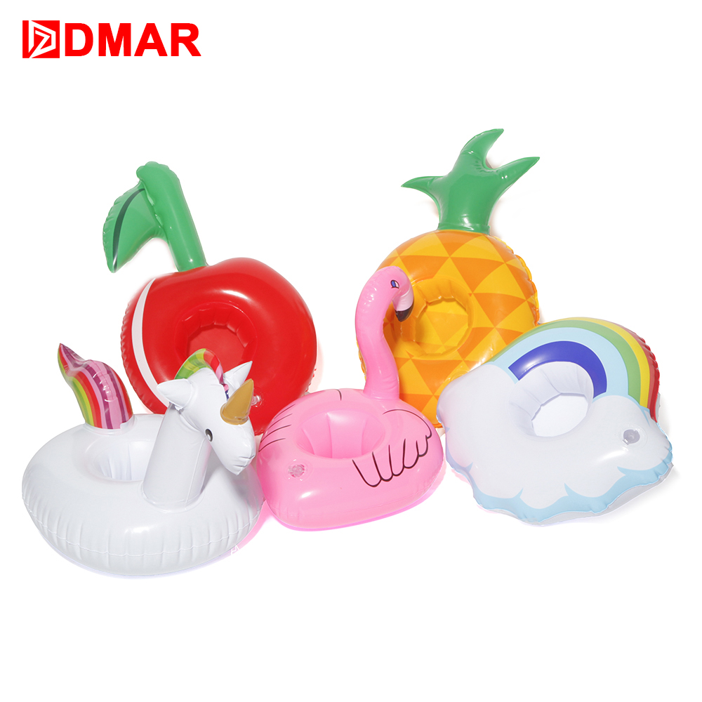 DMAR Mini Inflatable Flamingo Unicorn Cherry Pineapple Pool Float Toys Drink Float Cup Holder Party Toys Beach Kids Adults