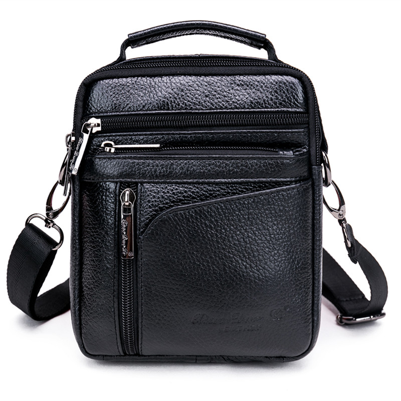New Business Sling Messenger Shoulder Bags Fashion Trend Cross Body Pack Real Genuine Leather Cowhide Men Small Handbag Tote Bag