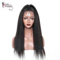 13x4 итальянский яки прямо Синтетические волосы на кружеве натуральные волосы парики для Для женщин натуральный черный Реми 130% плотности бра