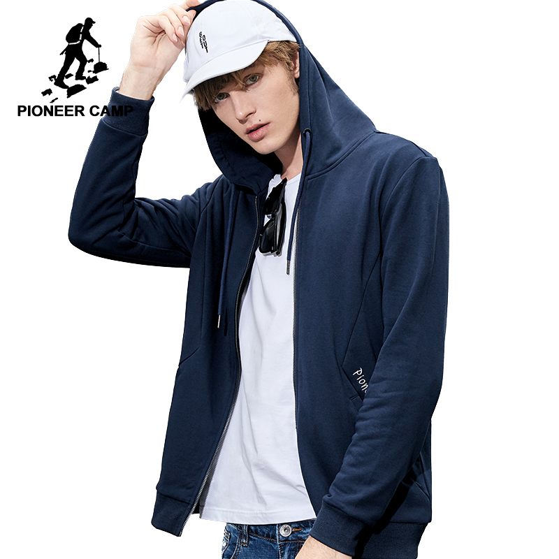 Pioneer camp new simple hooded jacket men brand clothing letter embroidered jacket coat male quality outerwear blue AWY801272