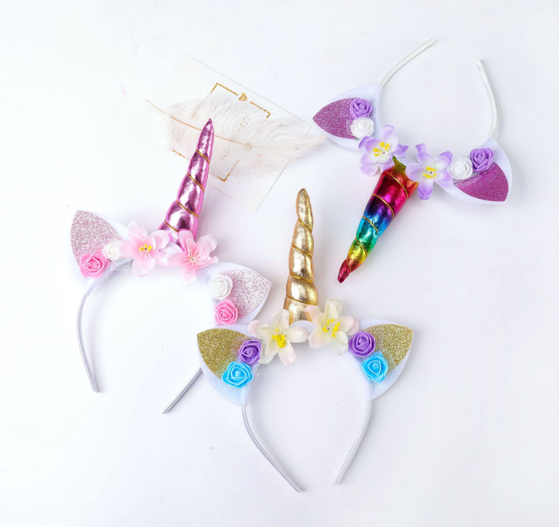 New Girls Cute Unicorn Flower Cat Ears Headbands Children Headwear Photo Props Party Hair Hoop Hairbands Kids Hair Accessories in Hair Accessories from Mother Kids