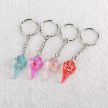 1PC the small Multicolor resin raven head keychain flatback resin crow pendant charms resin keyring for jewelry(China)