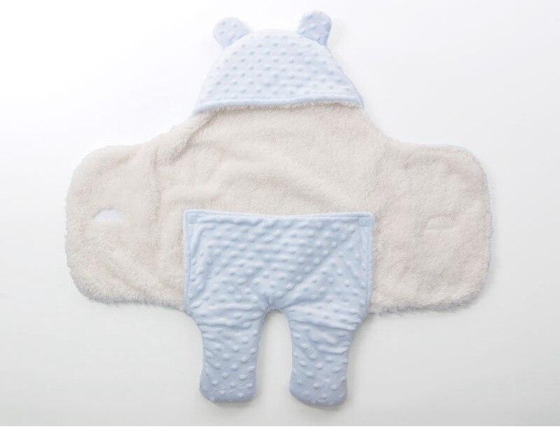 MOTOHOOD Coral Fleece Infant Swaddle Stroller Wrap For Newborn Baby Bedding Blankets Winter Thicken Velvet Baby Blanket Swaddle (10)
