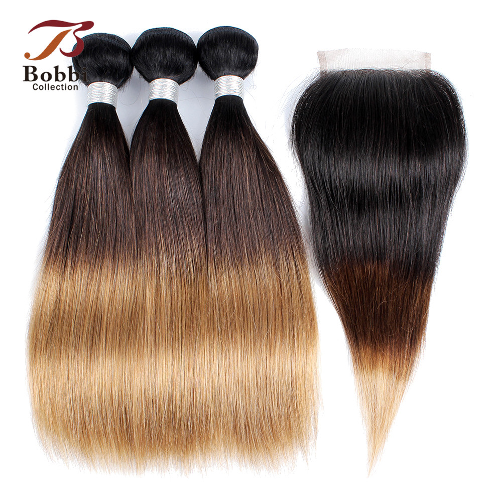 Bobbi Collection 12inch 2 3 Bundles with Lace Closure 1B 4 27 Black Brown Blonde Short