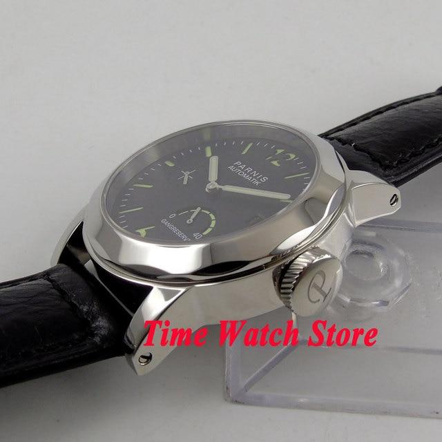 44mm Parnis 10ATM ST2530 montre-bracelet automatique hommes boîtier poli cadran noir verre saphir lumineux réserve de marche lumineuse P700