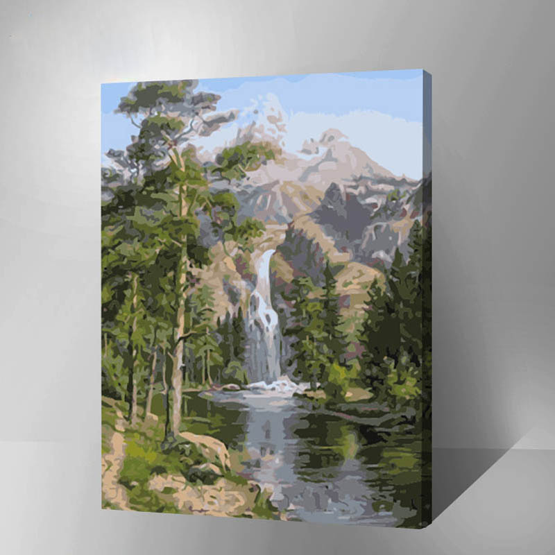 oil paint painting by numbers diy picture waterfall drawing on canvas oil painting by hand coloring landscape inner wood frame
