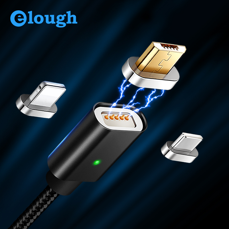 Elough E04 3 in 1 Magnet Charger Sync Data Multi USB Cable For iPhone Type C Micro USB Mobile Phone Fast Charge Magnetic Cable|Mobile Phone Cables|   - AliExpress