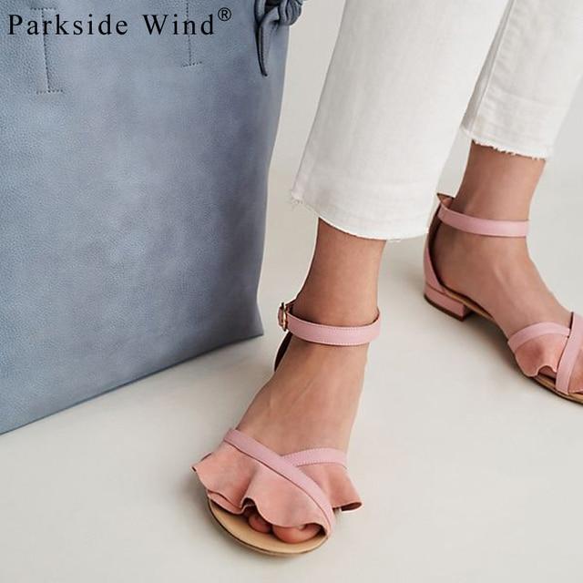 Парксайд ветер женские босоножки без каблука с оборками летние пляжные шлепанцы стильные Туфли с ремешком и пряжкой модные цветочные Дамская обувь XWA1478-5