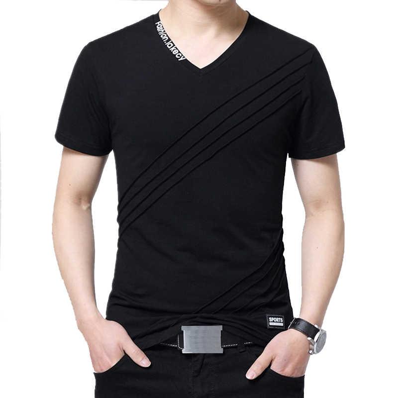 BROWON קיץ אופנה חולצה גברים קצר שרוול צווארון V כותנה כושר רגיל בתוספת גודל גברים מזדמנים חולצה 5XL