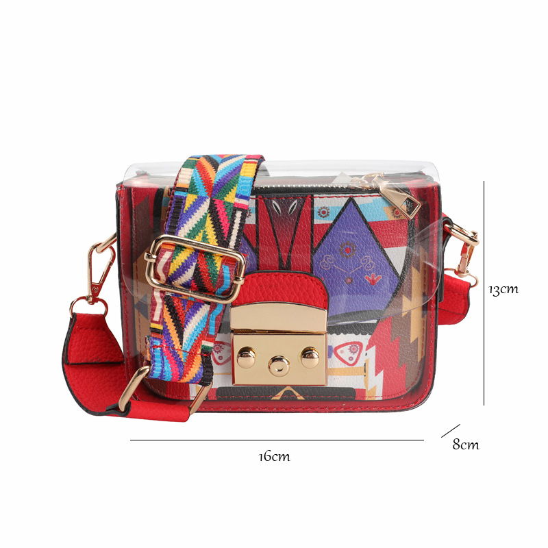 Newfashioned Mini Shoulder Bag With A Coin Purse Inside And Colorful Wide Strap For Ladies