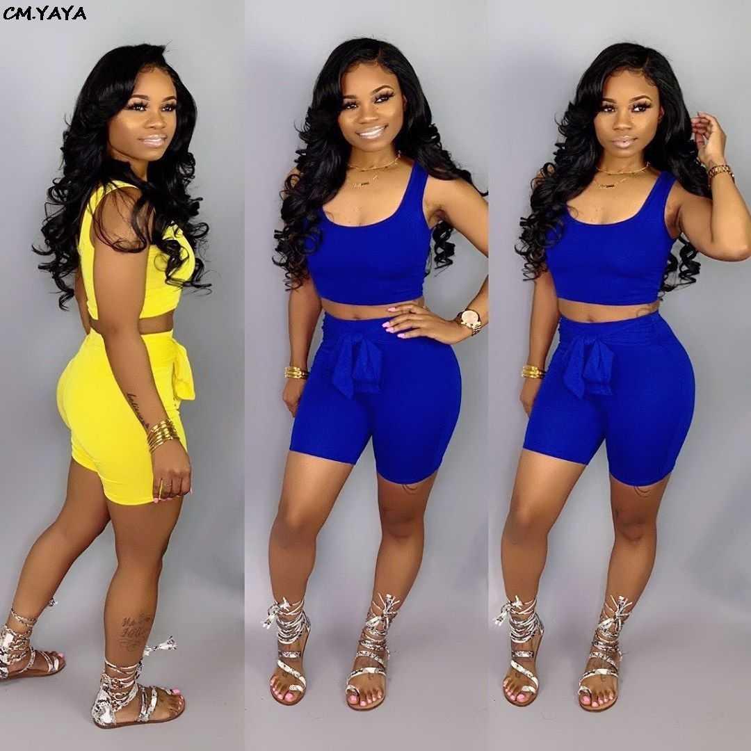 2019 חדש נשים קיץ מוצק ספורטיבי אופנה שתי חתיכה סט קצר טנק טי למעלה מכנסי חליפה מזדמן אימונית תלבושת 2 צבע GLWDL6583