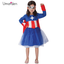 Umorden Purim Carnival Halloween Costumes Kids Girl Captain America Costume Girls  Hero Cosplay Fantasia Dress Disfraces