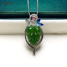 Russian Jasper Charms Necklace Lucky Leaf Pendant Silver 925 Certified Natural Hetian Jade High Quality Family Friends Gifts