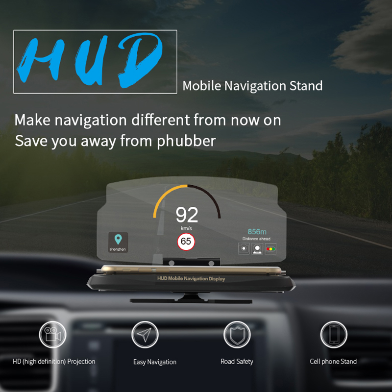 VJOYCAR C62 C63 Head Up Display Holder Car Speedometer Projector Stand Auto Hud Glass Projector For Wireless Phone Navigation
