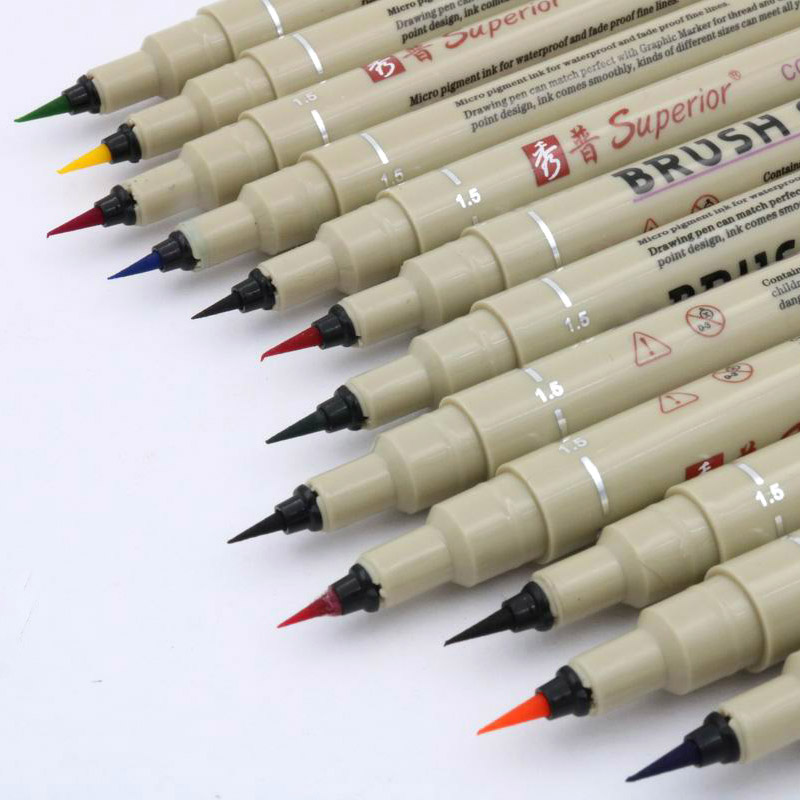 12pc desenho caneta pigmento pincel caneta caneta caneta marcador de arte ponta diferente pintura desenho caneta material de escritório