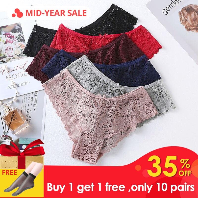 3pcs cotton lace   panties   for women lingerie Tempting sexy Briefs underwear Seamless Low-rise   Panty   Hip Up female Underpants #D