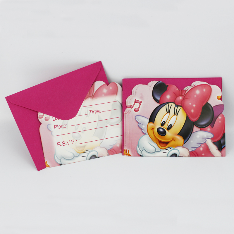 6pcs/pack Minnie Mouse Happy Birthday Party Decoration Kids boy girl event Supplies Favors Invitation Cards