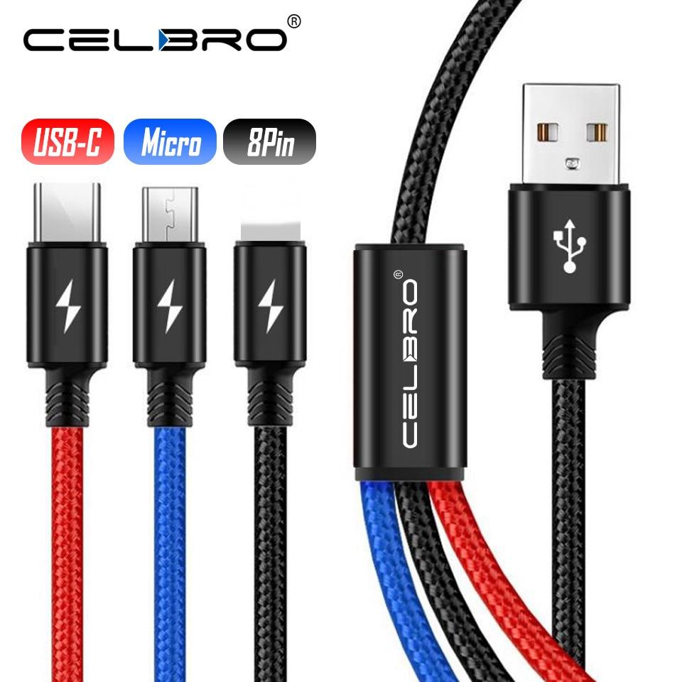 Зарядный кабель Micro USB 3 в 1 для Huawei P30 Pro Lite, Redmi GO, универсальный, несколько USB, Тип C, длинный, короткий