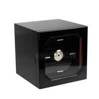 Classical Elegant Black Glossy Piano Paint Finish Cedar Wood Cigar Humidor Pretty Storage Box Case With