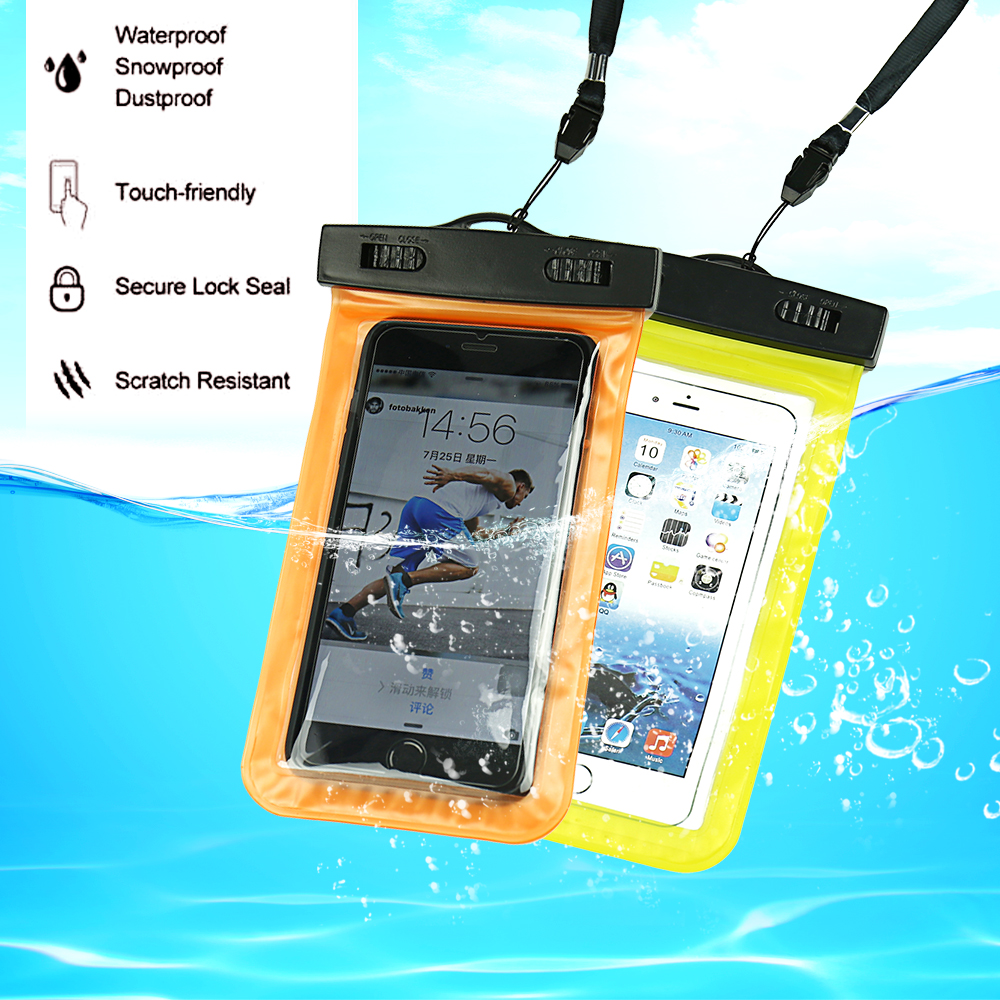 100% დალუქული წყალგაუმტარი ჩანთა Pouch ტელეფონის ყუთი მობილური Noctilucent წყლის მტკიცებულება წყალქვეშა ყურის ჩანთა 6 5S 6S Plus S7 საცურაოთვის
