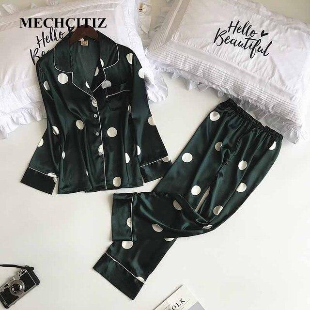 MECHCITIZ silk pajamas set women long sleeve coat pants two pieces sleepwear  women autumn spring fashion 0caac5238