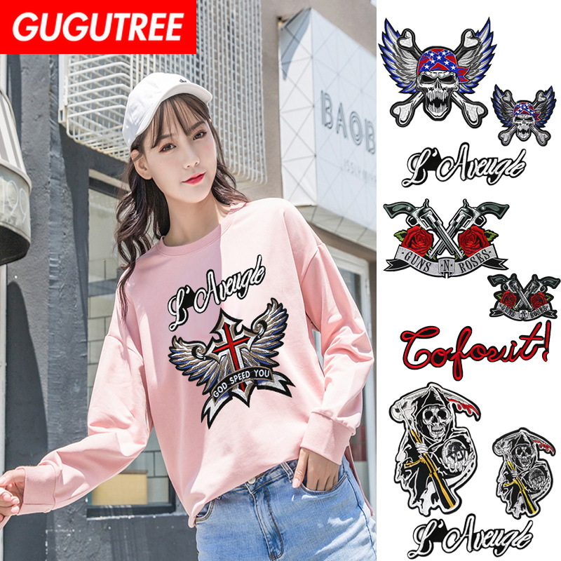 GUGUTREE embroidery big eagle skull patches letter death badges applique for clothing XC-38