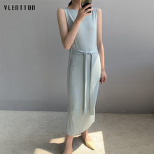 2019 New Casual Knitting Maxi Dress Women sexy Sleeveless Vest long Beach Spring Summer Elegant Party Ladies Dresses