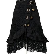 S-XXL 2017 Summer New Fashion Sexy Gothic Style Steampunk Rock Lace Mermaid Ruffle Women Midi black Skirt Party Skirts