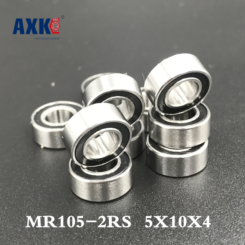 Free shipping  AXK MR105RS Bearing ABEC-5 (10PCS) 5X10X4 mm Miniature MR105-2RS Ball Bearings  MR105RS L1050 free shipping 10pcs mr62zz mr63zz mr74zz mr84zz mr104zz mr85zz mr95zz mr105zz mr115zz mr83zz miniature bearing