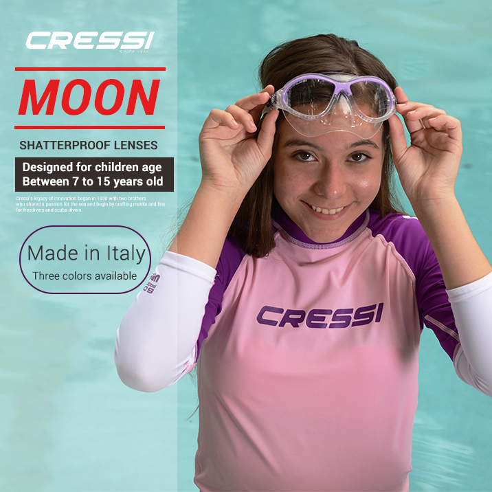Cressi MOON Children s Dving Mask 2 Window Boys and Girls Snorkeling Swimming Mask 7 8