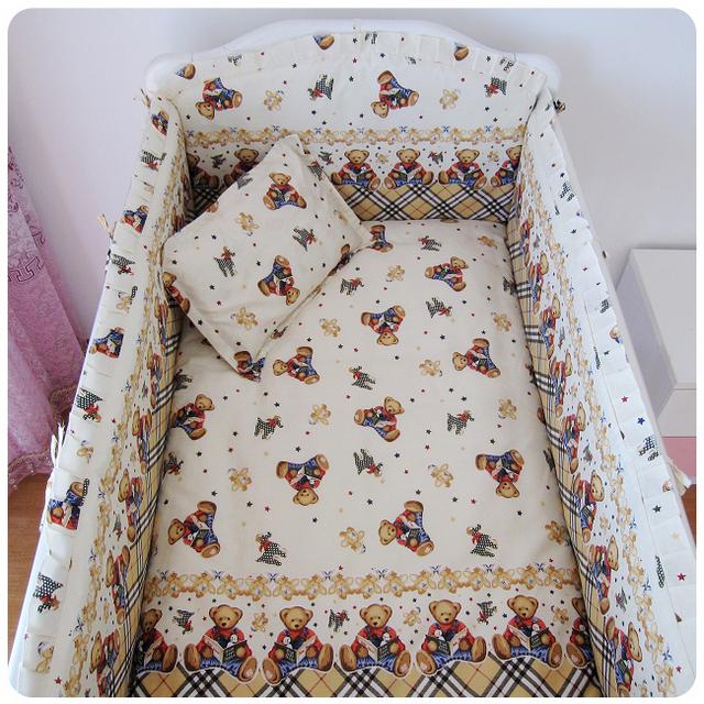 Promoción! 6 unids lecho del bebé oso fijó 100% algodón cuna cuna establece cama de bebé ( bumpers + hojas + almohada cubre )