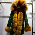 Casacos de Inverno Russo YOUMIGUE 100% Real Rex Rabbit Fur Parka Com Capuz Parka Mulheres Jaqueta de Inverno Grande Pele De Raposa