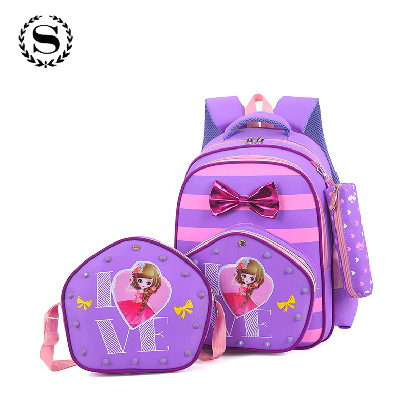 3 Pieces Primary School Backpacks Cute Cartoon Children School Bags Waterproof Nylon Child Girls Book Bag Gifts Mochilas ZZ534 3 6 grade cute baymax cartoon primary student bag children school bags backpack for girls boys kids bookbags child book bags