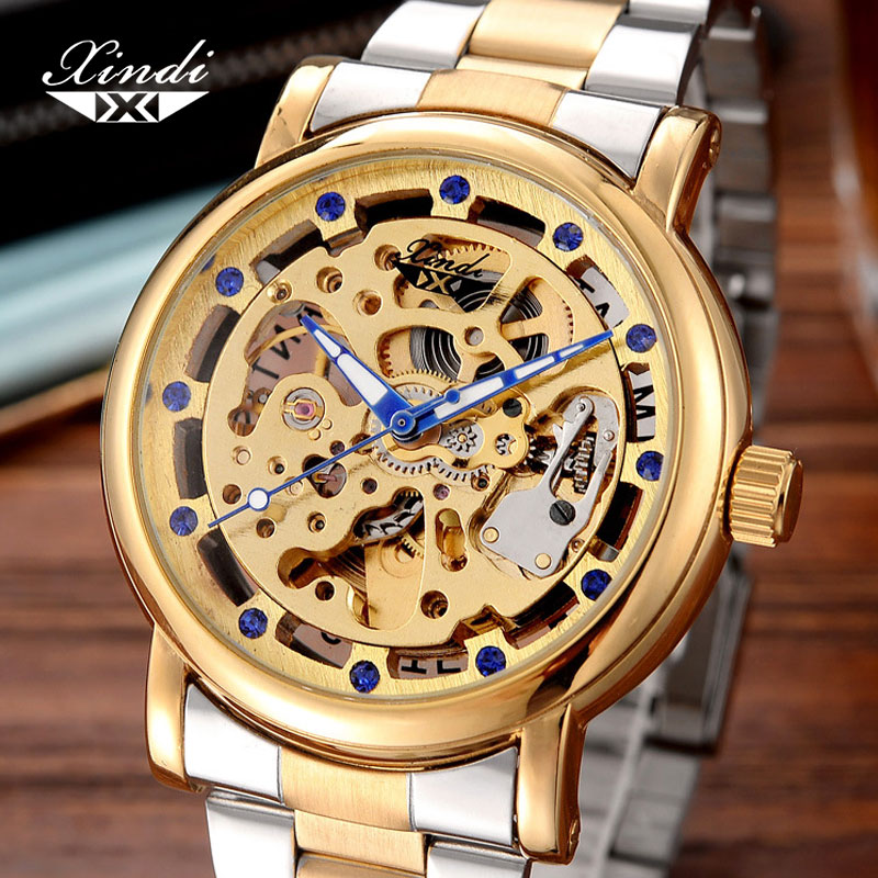 Xindi Mens Gold Mechanical Watch Automatic Diamond Skeleton Luxury Brand Waterproof Stainless Steel Wristwatch Blue Needle NewXindi Mens Gold Mechanical Watch Automatic Diamond Skeleton Luxury Brand Waterproof Stainless Steel Wristwatch Blue Needle New