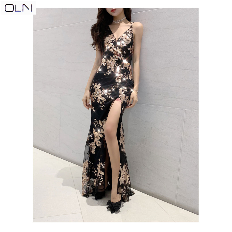 Dress OLN Simplee Sexy lace up halter sequin party dresses women High split maxi dress female Christmas long dress in Dresses from Women 39 s Clothing