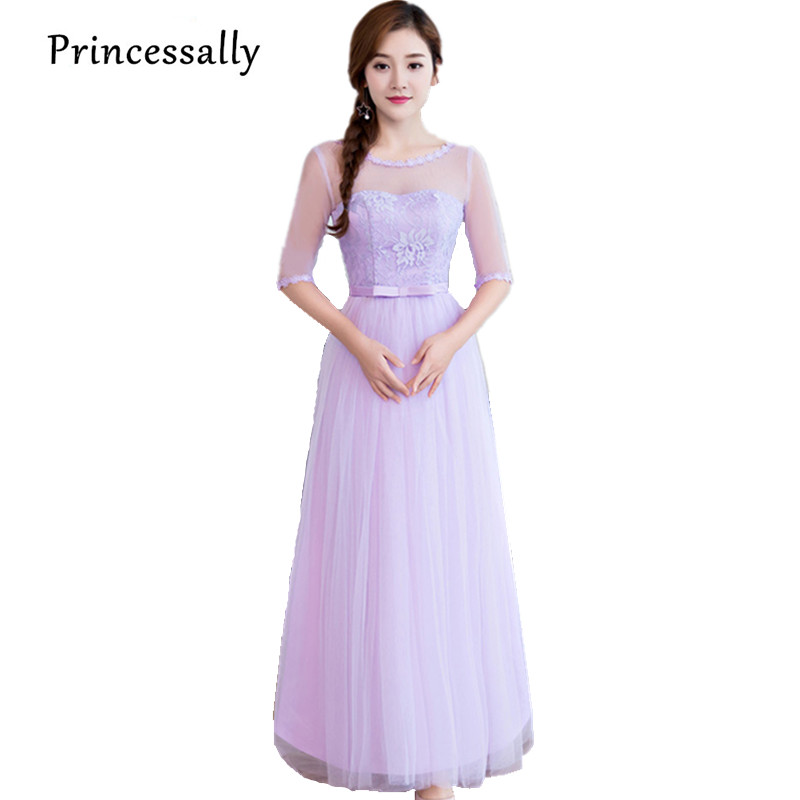 Robe Soiree Mariage Purple Bridesmaid Dresses Sleeved Elegant Lace Lilac Party Prom Dresses Vestido Boda Cheap Under 50 New 2017