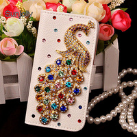Sunjolly Peacock Flip Rhinestone Leather Case Diamond Cover Coque Fundas Capa For Samsung Galaxy S8 S7