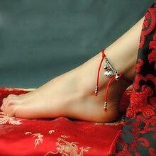 Винтажный ножной браслет для женщин с красной лентой из цинового сплава с фиксатором колокольчика, этнические украшения, подарок на Рождество и год