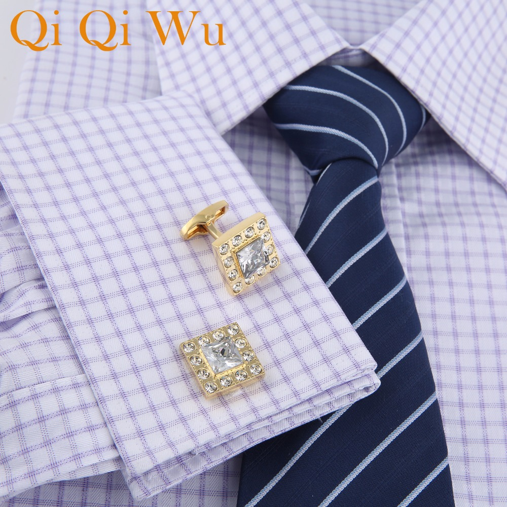 2018 New Arrive Luxury French Men 39 s Shirt Cufflinks Metal Men Cuff Links For Wedding Party Crystal Cufflink High Quality RL 8087 in Tie Clips amp Cufflinks from Jewelry amp Accessories