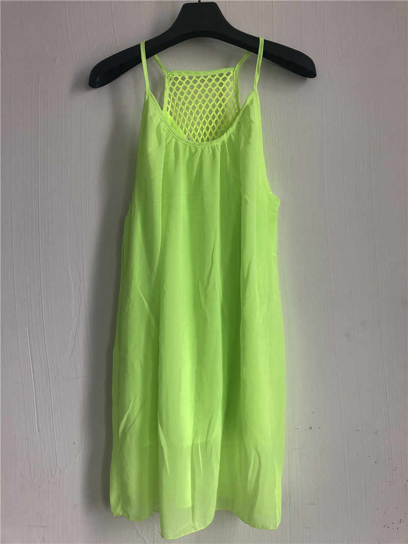 1d8e036645 Women beach dress fluorescence female summer dress chiffon voile women  dress 2018 summer style women clothing plus size 14 Color
