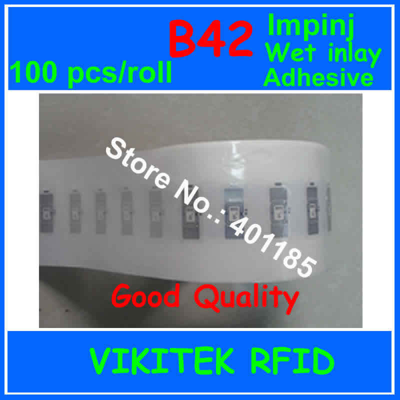 Impinj B42 UHF RFID adhesive wet inlay 100pcs per roll 860-960MHZ Monza4 915M EPC C1G2 ISO18000-6C can be used to RFID tag label